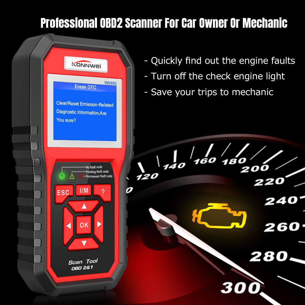 Amazon.com: KONNWEI KW850 Professional OBD2 Scanner Auto Code Reader Diagnostic  Check Engine Light Scan Tool for OBD II Cars After 1996 (Original): ...