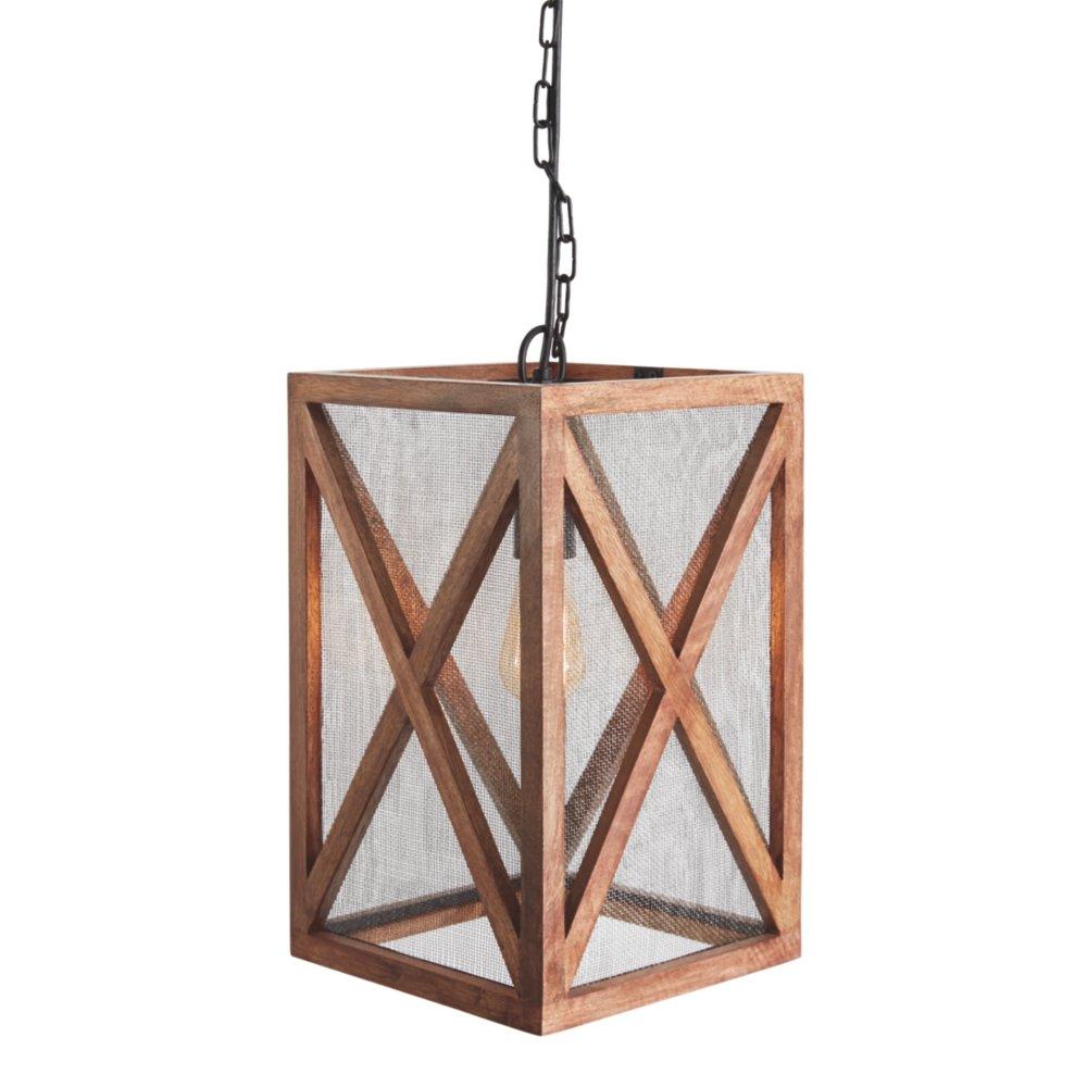 Ashley Furniture Signature Design -  Jodene Farmhouse Wood Pendant Light, Brown