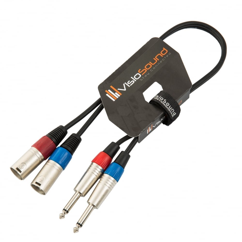 "2 x Male XLR to 2 x 6.35mm 1/4"" Mono Jack Twin Lead / Audio Signal Patch Cable 3m VisioSound"