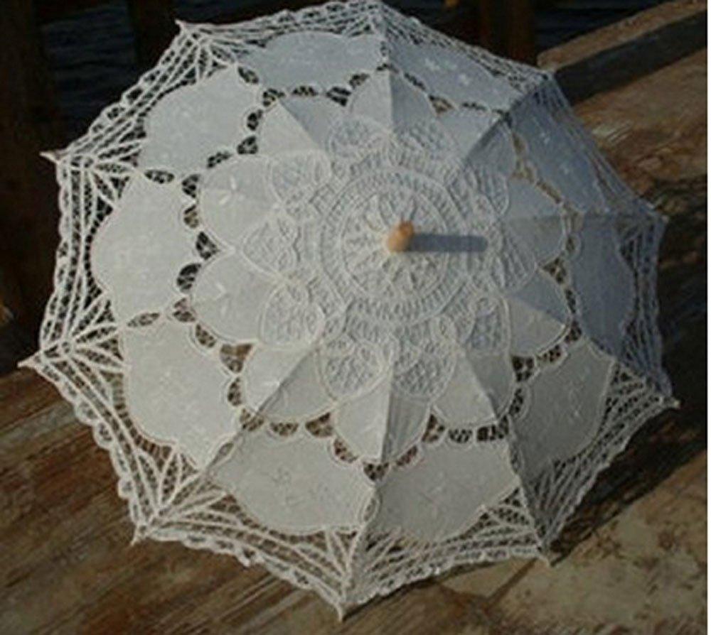 niceEshop(TM) Parasol Paraguas de Bordados Hechos a Mano Encaje para la Decoración de la Boda Nupcial, Beige: Amazon.es: Deportes y aire libre