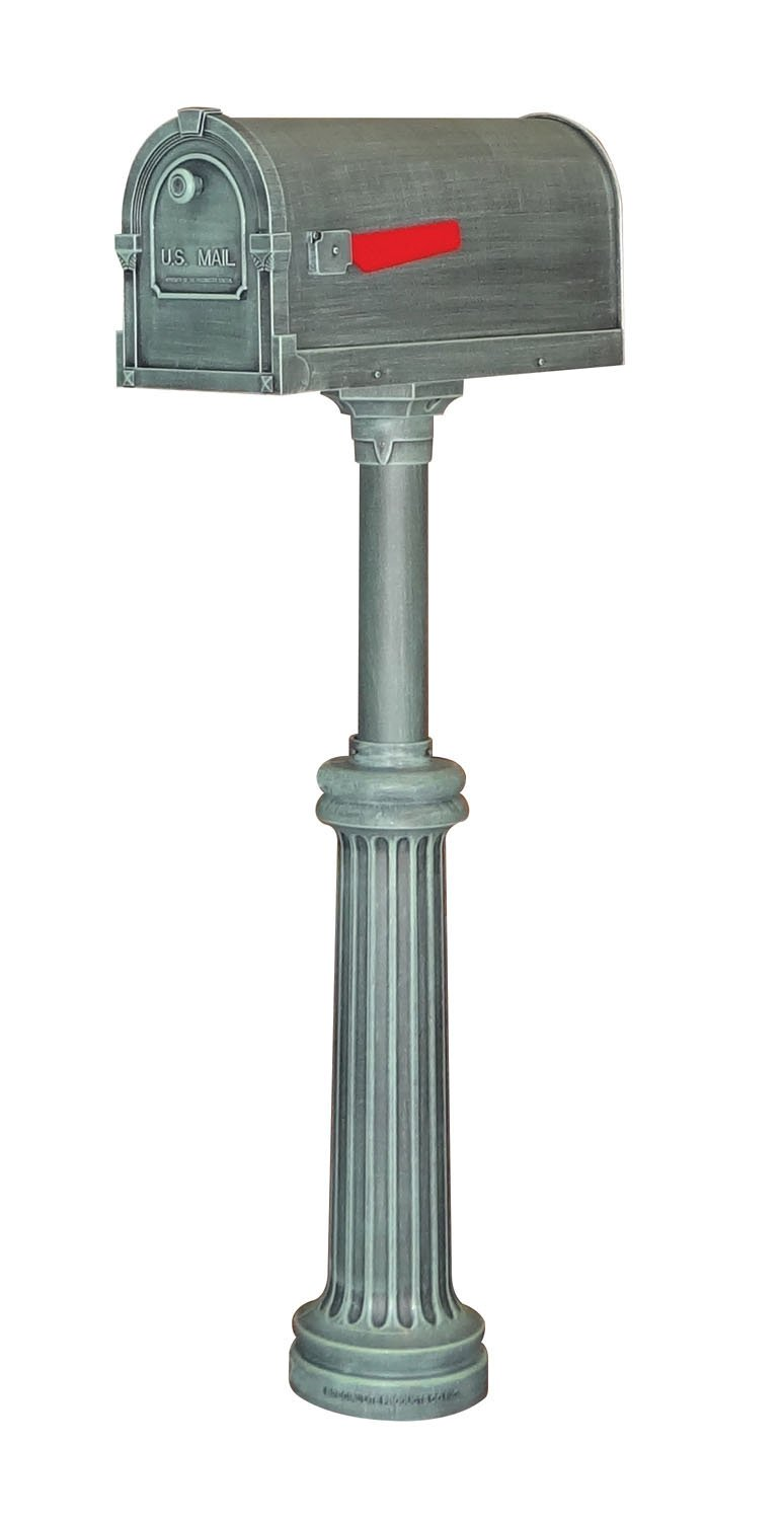 Special Lite Savannah Curbside Mailbox with Bradford Direct Burial Mailbox Post - Verde Green