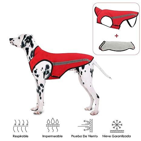 SlowTon Abrigos para Perros de Invierno Chaqueta Impermeable Ropa para Perros Forro de Franela Desmontable Cuello
