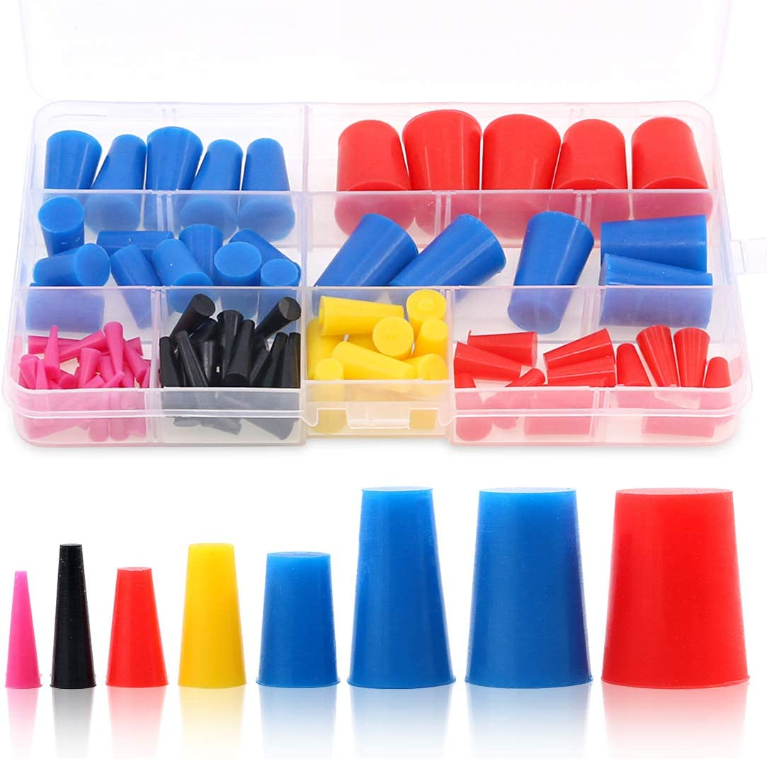 Swpeet 100Pcs High Temp Silicone Rubber Protective Tapered Plug Assortment Kit, Masking System Kit Perfect for Powder Coating, Painting, Anodizing, Plating & Media Blasting