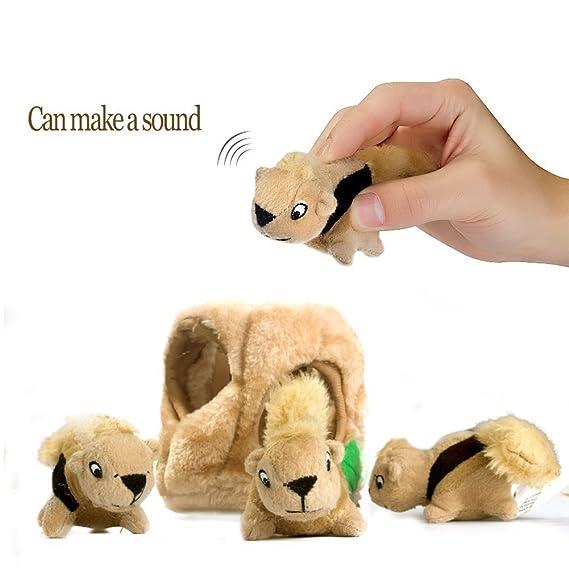 Juguete de peluche para perros, juguete duradero para mascotas Squeak, esconde un juguete interactivo para perros pequeños / medianos: Amazon.es: Productos ...