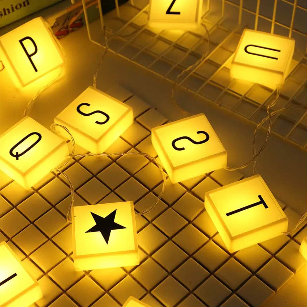 Creation Core 20 Led Letter Light Box String with 60 Letters, Numbers & Symbols Free Combination DIY Letter Banner for Home Decor Photoshoots Birthday Party, Warm White by Creation Core