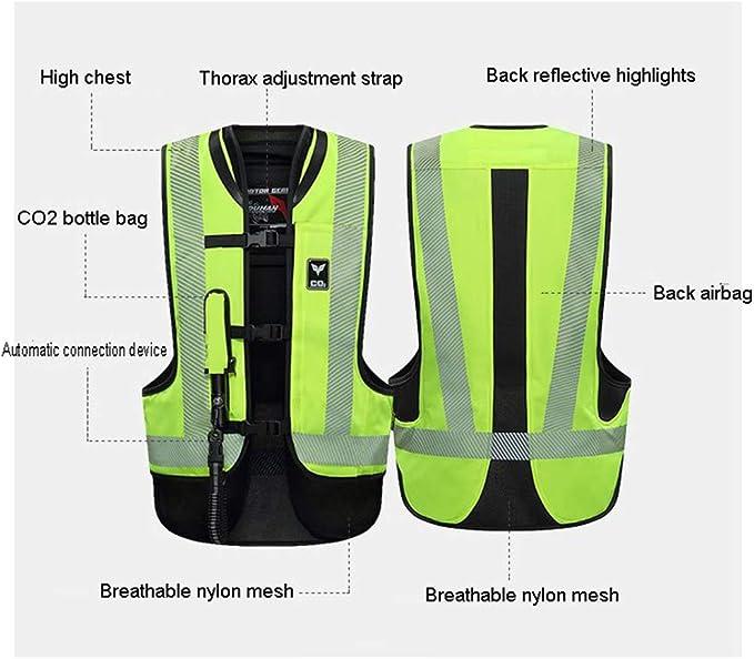 Equipo De Seguridad De Carreras De Locomotoras De Motocicleta LXHkk Chaleco De Airbag De Motocicleta Sistema De Disparo De Airbag De Di/óxido De Carbono,Amarillo,S Reflector De /Área Grande