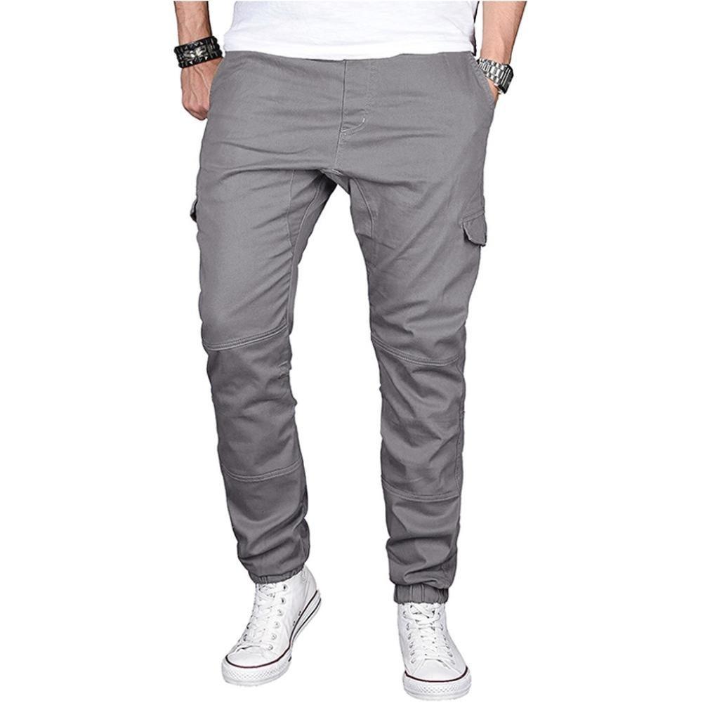 PASATO Hot! Fashion Men's Sport Pure Color Cotton Casual Sweatpants Drawstring Pant Trousers(Gray, L)