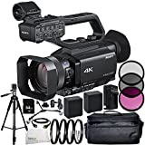 Sony HXR-NX80 Full HD XDCAM with HDR & Fast Hybrid AF 12PC Accessory Bundle – Includes 2x Replacement Batteries + AC/DC Rapic Home & Travel Charger + MORE