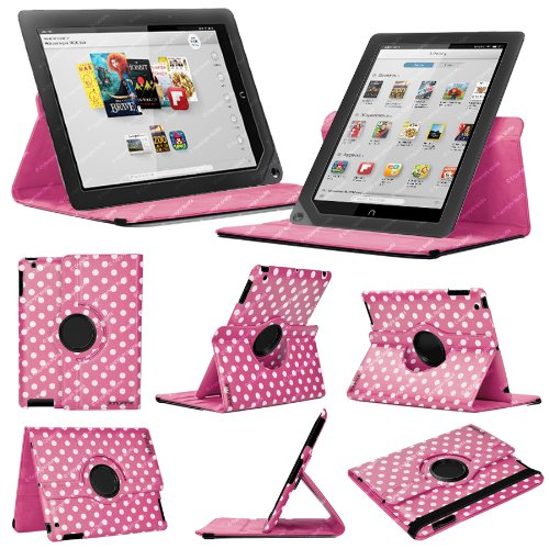 Deep Pink & White Polka Dot Barnes & Noble Nook HD+ 9 Case - Leather Smart Case with 360° Rotating Swivel Action for Portrait and Landscape Orientation with Free Screen Protector and Stylus Touch Pen by Stuff4®