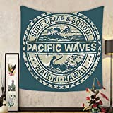 Gzhihine Custom tapestry Modern Tapestry Pacific Waves Surf Camp and School Hawaii Logo Motif with Artsy Effects Design for Bedroom Living Room Dorm Khaki Slate Blue