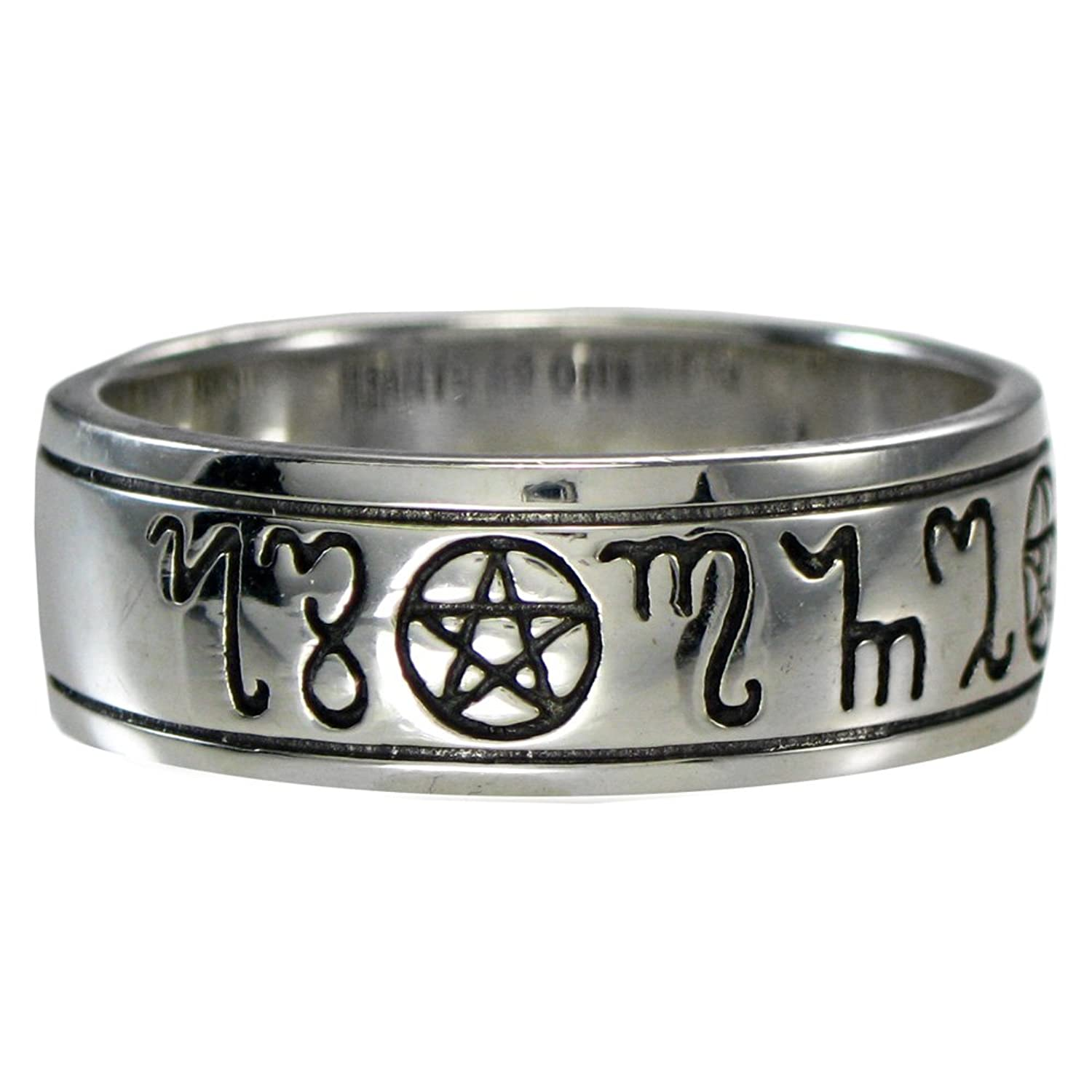 com sterling silver handfasting theban pentacle wedding - Pagan Wedding Rings