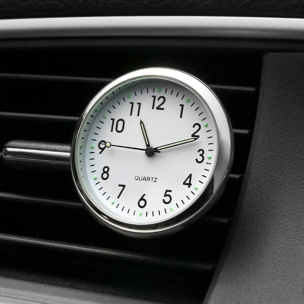 Color : White Yiqiane Auto Anzeigeger/ät Autopaste Uhr Kleine Runde Hochpr/äzise Bord Quarz Uhr Leuchtende Auto Uhr Meter Perfekte Autodekoration zum Fahrer Autos