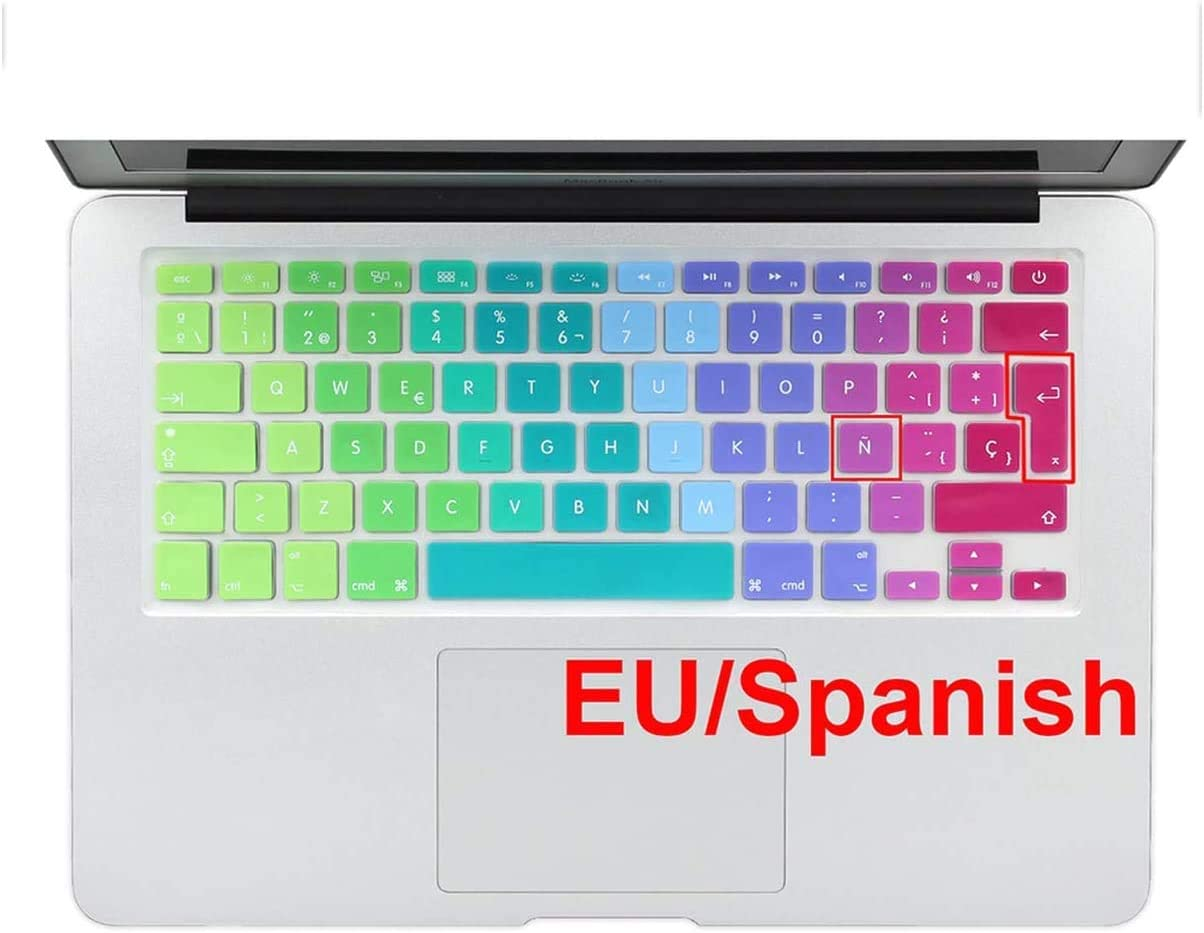 Maxsan Rainbow Gradient Euro Spanish Keyboard Cover Skin Stickers for MacBook for Air Pro 13 15 17 Ifor Mac 21.5 27-Spanishcolor-OneSize