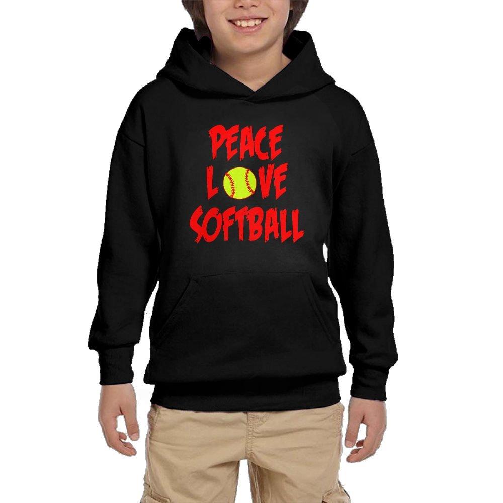 Youth Black Hoodie I Love Softball Peace Love Softball Hoody Pullover Sweatshirt Pocket Pullover For Girls Boys XL by Hapli