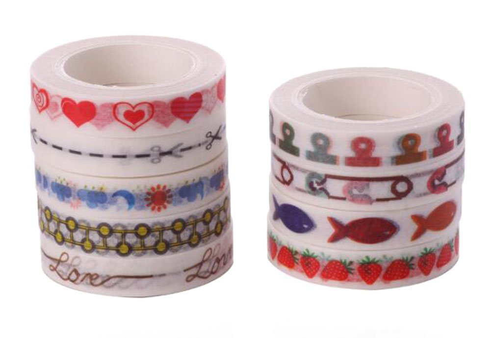 9 Roll Dividing Line Washi Tape - 23 Ft/Roll - 8mm Wide All Sorts of DIY Handmade Design Style for Border Decoration with Narrow Side and Tear Decorative Sticker (Random Mixed Send) Nicedmm