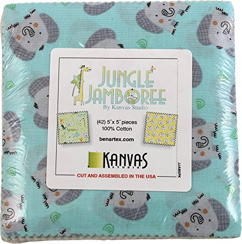 Kanvas Studio Jungle Jamboree 5X5 Pack 42 5-inch Squares Charm Pack Benartex by Benartex