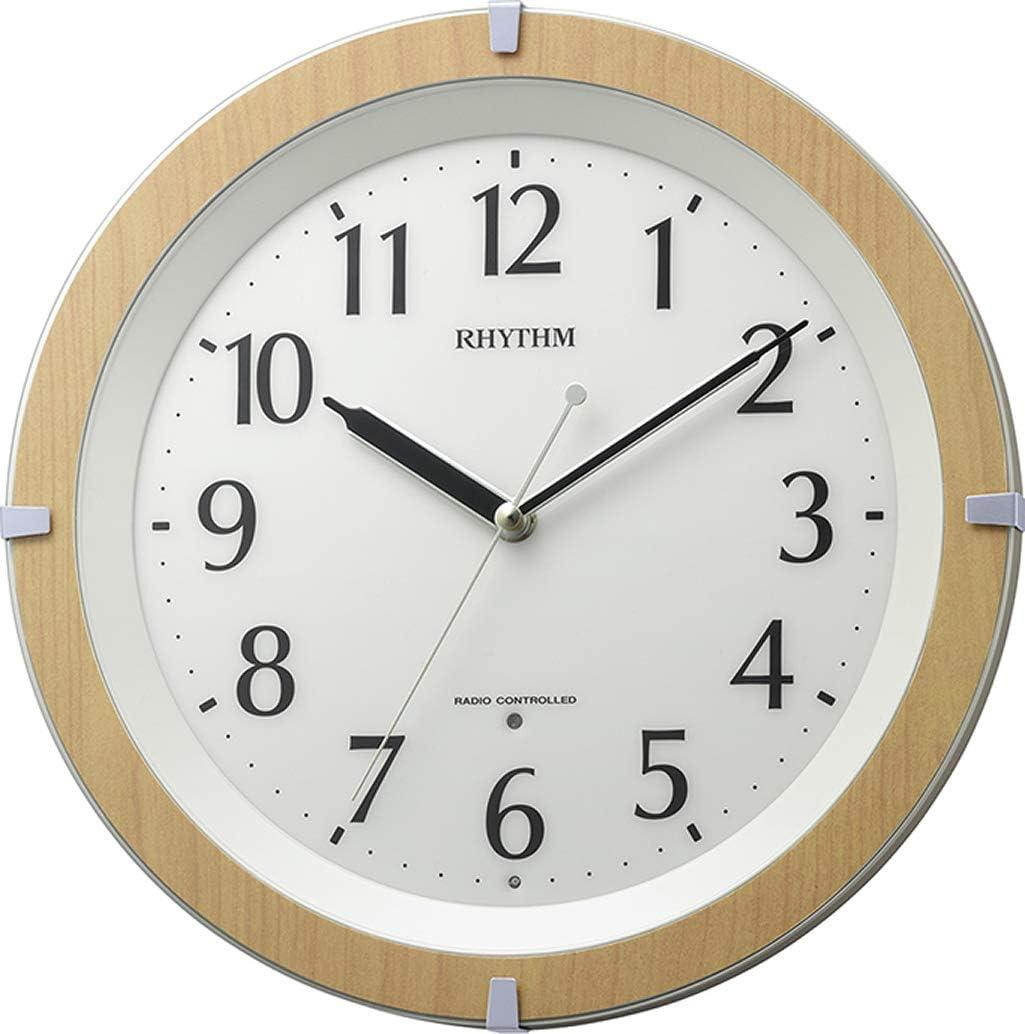 リズム時計工業(Rhythm) 掛け時計 ブラウン φ31.7x5.3cm 電波時計 暗所ライト自動点灯 白色LED 静かな連続秒針 8MY561SR03