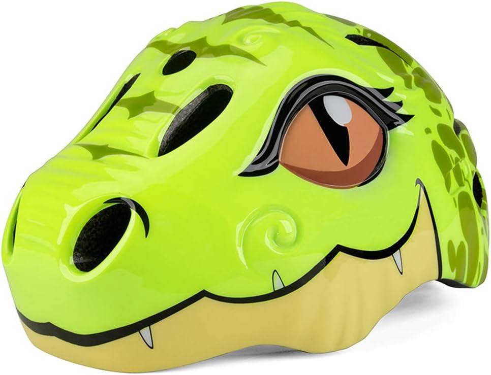 basku Casco de Ciclismo de Seguridad para niños   Casco de Ciclo de Dinosaurio de Dibujos Animados en 3D con luz LED Trasera para bebés, niños, niños, niñas, niños, Regalos, 48-52 cm