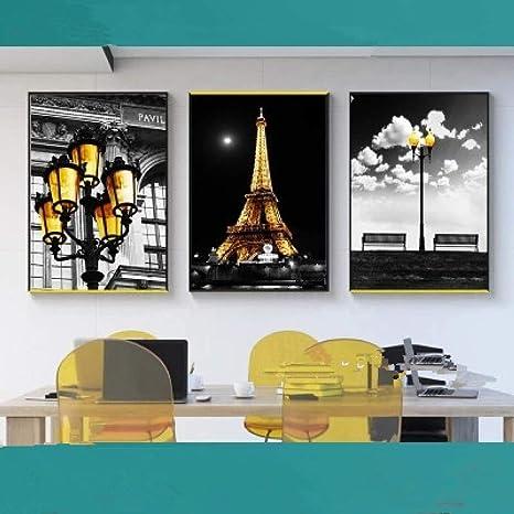 jzxjzx Paisaje Blanco y Negro Pintura al óleo Torre de París ...
