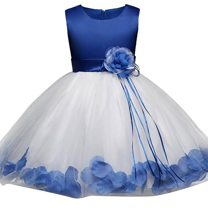 Vestido Elegante Boda Fiesta con Flores para Niña Vestido de Princesa para Chica Dama de Honor