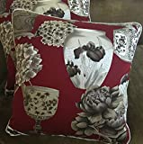 Brochier Ratti Printed Cotton Fabric Custom Designer Throw Pillows Ming Red 2