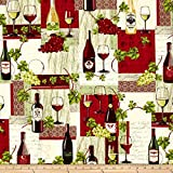 Wine Country Wine Bottle Patchwork Fabric By The Yard