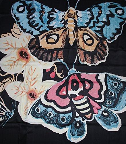 Noir De Base Exclusif Pur À Fleurs Écharpe Papillon Soie 48qRf