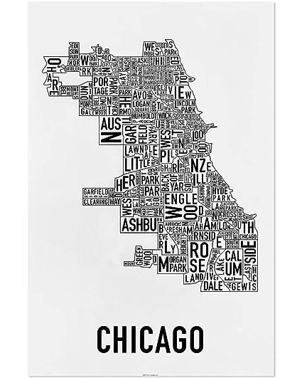 Chicago Neighborhoods Map Art Poster, Black & White, 24