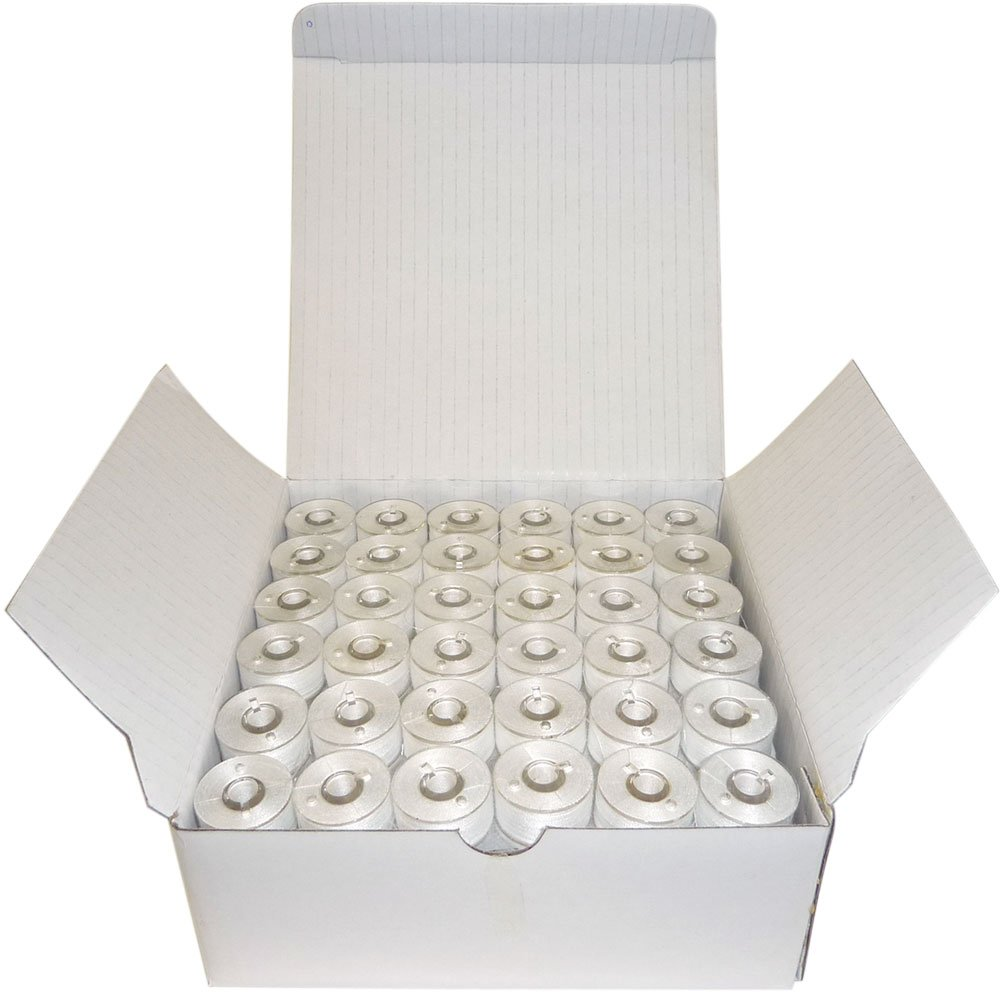Superb Pre-Wound Bobbins White Style L (Small) Polyester Pre-Wound Bobbins Thread, Box of 144 Superpunch