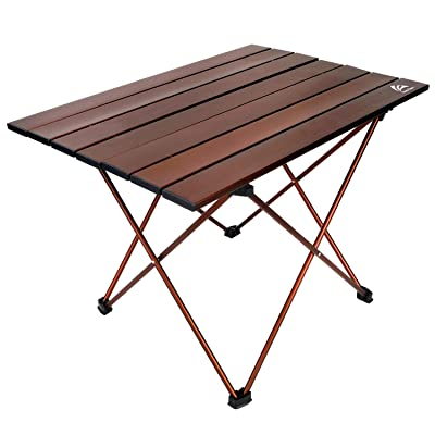 BERSERKER OUTDOOR Portable Camping Table Lightweight Folding Aluminum Table Compact Roll Up Table Top with Carry Bag, Easy to Set Up and Clean, Perfect for Outdoor, Home Use(Small and Medium Two Size) : Sports & Outdoors