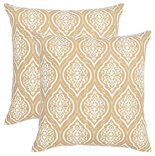 (Isabella Beddings Throw Pillow Covers Both Side Printed Cushion Cover 18 x 18 Inches Set of 2 Handmade Decorative Pillows in Beige Color)