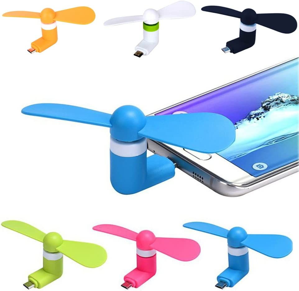Geekercity 3 Pack Cell Phone Mini Fan Portable Super Mute Micro Cooler Cooling Mini Fan for Android Cell Phones Samsung Galaxy S3 S4 S5 S6 S7 Note 2 3 4 5 HTC LG Random Color