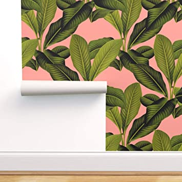 Spoonflower Peel And Stick Removable Wallpaper Botanical Palm Tropical Banana Leaf Coral Leaves Print Self Adhesive Wallpaper 12in X 24in Test Swatch Amazon Com