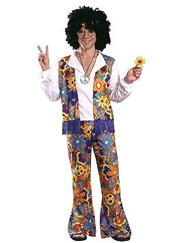 Disfraz de Hippie para adultos (hombre), ropa colorida con flores - Talla única (Rubies 15697)