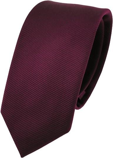 TigerTie - corbata estrecha - burdeos rojo borgoña monocromo Rips ...