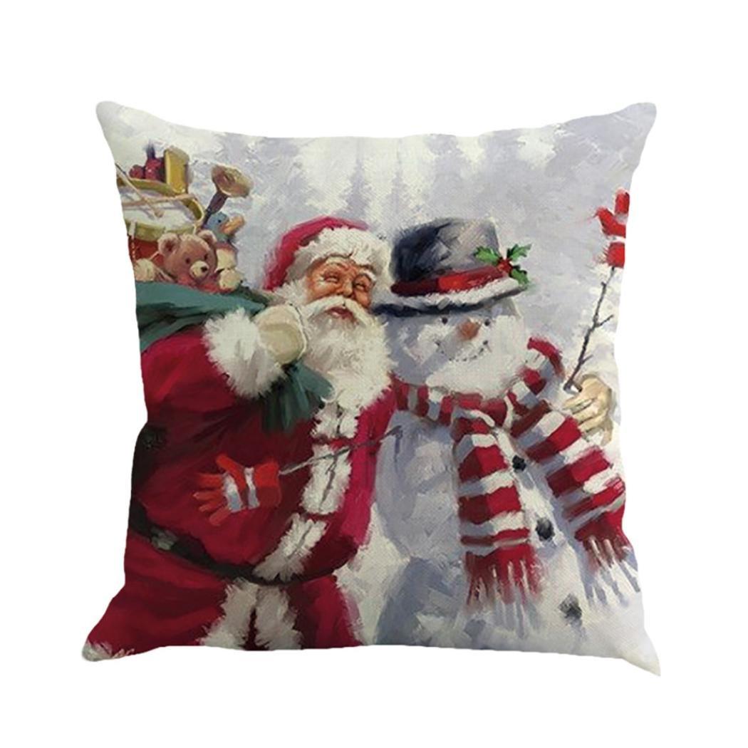 Pillowcase, Zulmaliu Christmas Home Decor Santa Claus Snow Printing Square Pillowcases (Multicolor I)