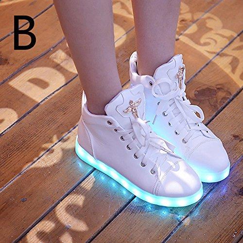 Jin Mode 8 Kleuren Led Schoenen Hoge Top Groeiende Schoenen Voor Vrouwen Lichtgevende Oplichten Sneaker Schoenen Wit B