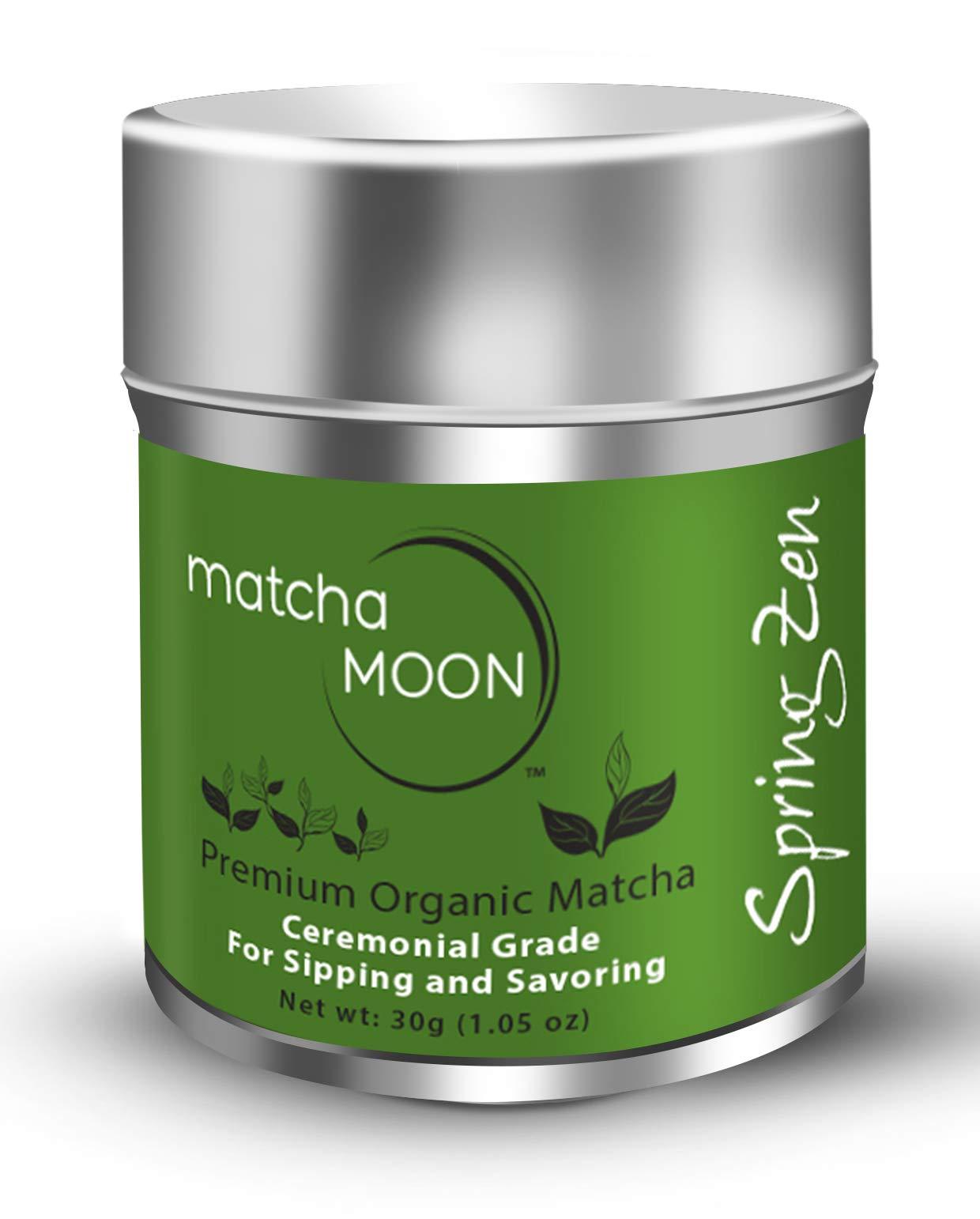 Matcha Moon Uji Matcha Green Tea Powder | Japanese Ceremonial Grade | USDA Organic | Vegan, Natural, Gluten-free, Sugar-free | Best-tasting Everyday Drinking Matcha | Antioxidant Superfood | 30g Tin