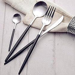Besplore 304 Stainless Steel Flatware Set,Luxury,Spoon Fork Knife,Sliver&Black