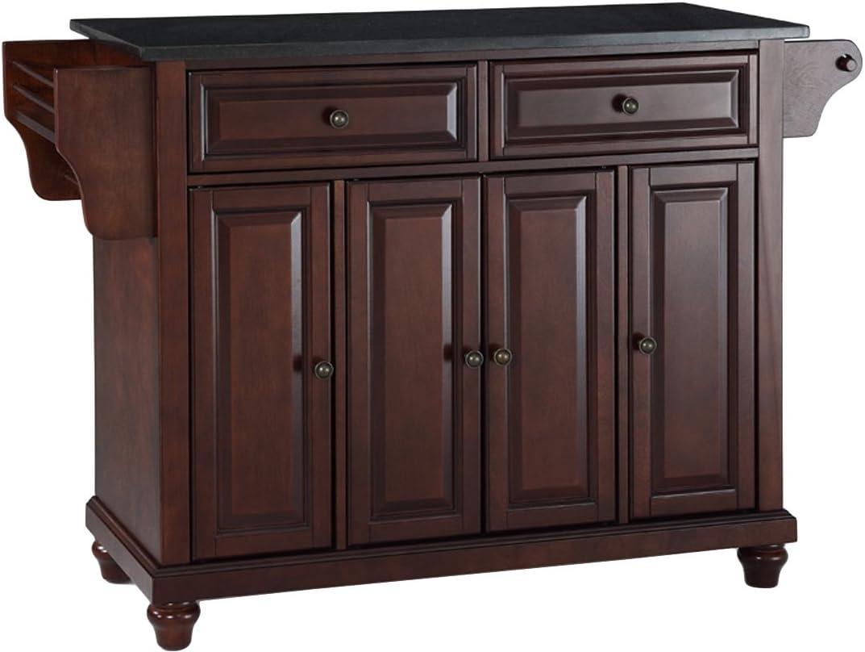 Crosley Furniture Cambridge Full Size Kitchen Island with Solid Black Granite Top, Mahogany