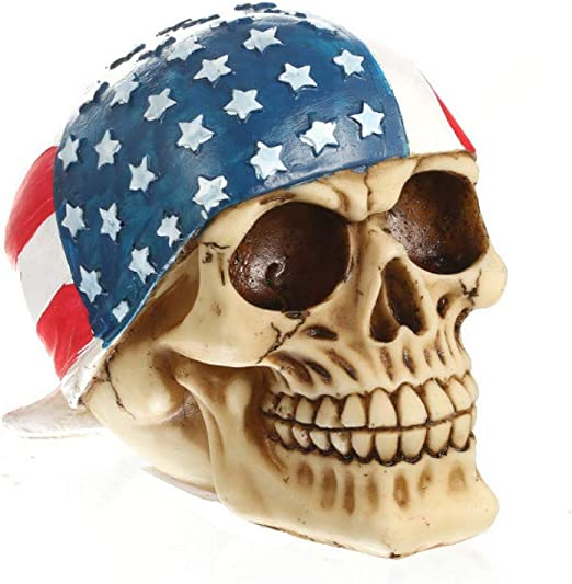 Mary Paxton Skeleton Skull Figurine,American Flag Hood USA Bandanna Human  Skull Decor Skeleton Head Sculpture Statue Realistic Decorations Pirate