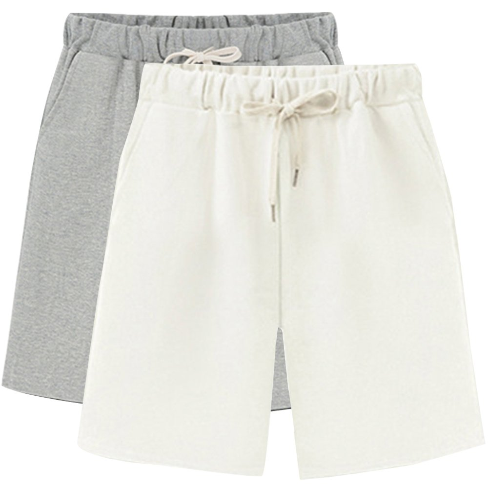 Women's Soft Knit Elastic Waist Jersey Bermuda Shorts with Drawstring 2 Pack Grey+White Tag XL-US 4-6