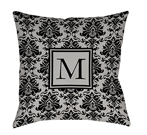 Manual Woodworker Weavers Square Indoor/Outdoor Pillow, 16-Inch, Monogrammed Letter M, Black and Grey Damask