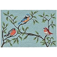 Liora Manne RVL23227004 2270/04 Birds on Branches Aqua Rugs, Indoor/Outdoor, 24X36, Blue