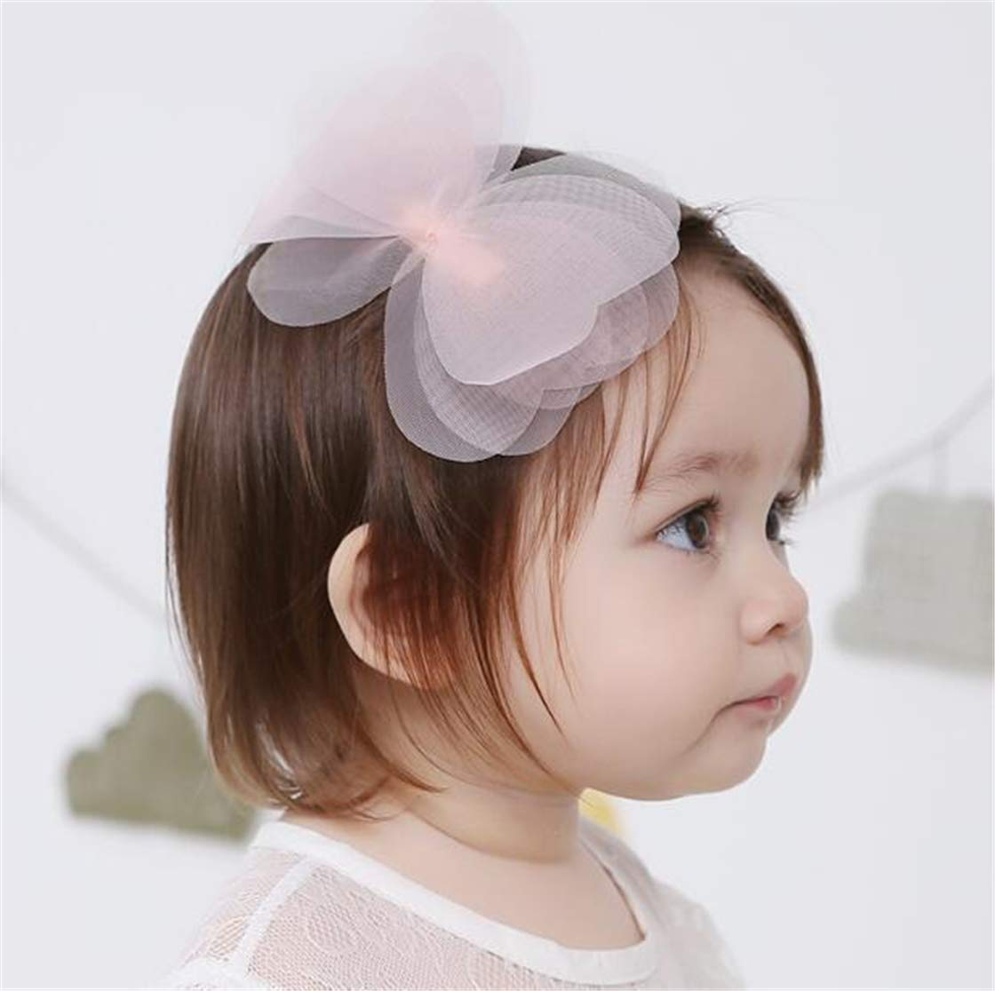 Tmrow 1pc Pink Hair Bows Clips, Lovely Chiffon Bow Cute Hairpin for Little Baby Toddlers Daily Party