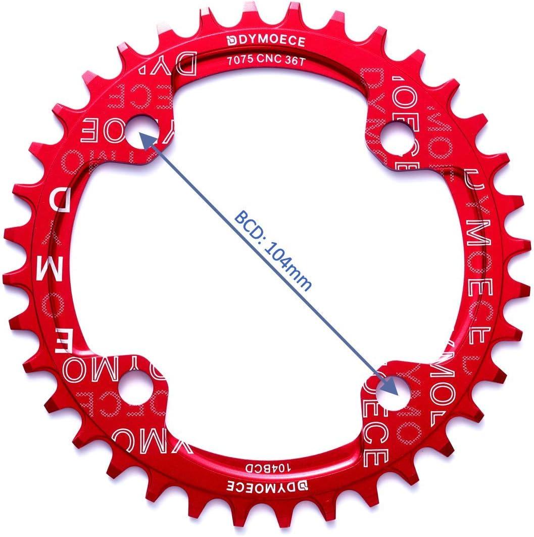 geeignet f/ür die meisten Shimano Dymoece Fahrrad Kettenblatt 104BCD 32T//34T//36T//38T f/ür 9 10 11-Fach Runde und Sram-Kurbels/ätzen Schwarz//Rot