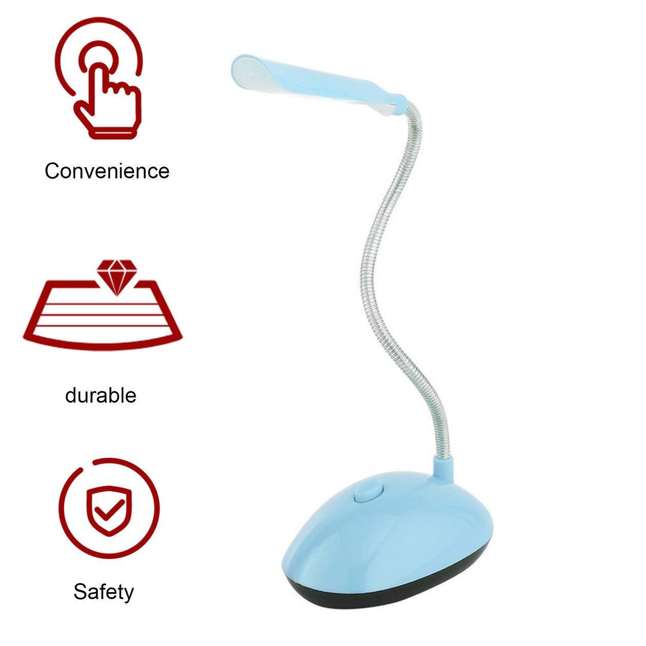 BIYI Fashion Ultra-bright Wind LED Luz de escritorio Econ/ómica AAA L/ámpara de lectura de libro con bater/ía con tubo flexible PY-X7188 azul