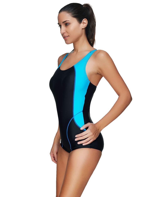 Correa Ancha para el Hombro UR MAX BEAUTY Traje de ba/ño de una Pieza de Atletismo Racerback para Mujer Traje de ba/ño Color Block de Moda para Nadar Entrenamiento de Yoga,S