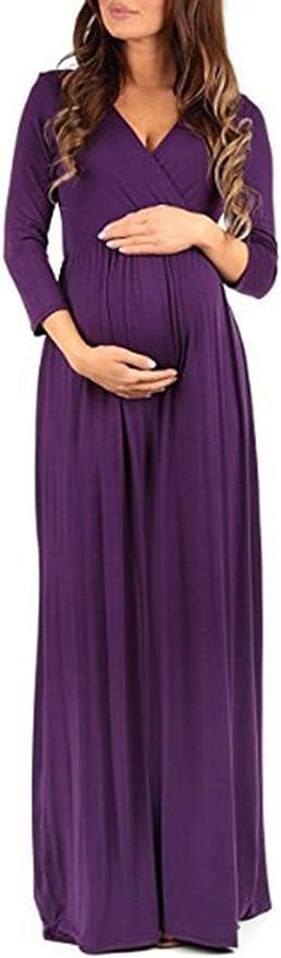 Xinsy Vestido De Maternidad De Manga Larga Vestido De Mamá Embarazo Ducha Purple L