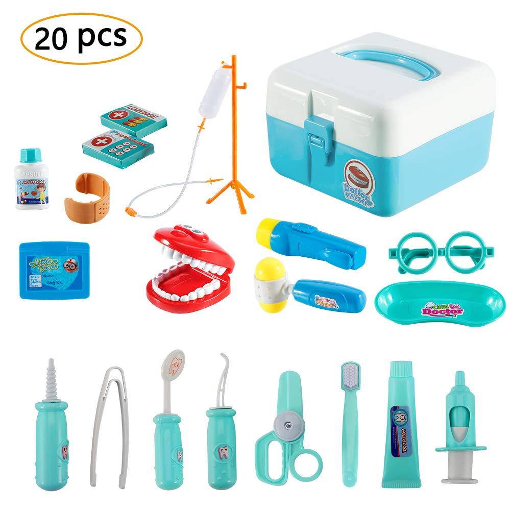 Twister.CK Childrens Doctors Kit, Kinder Spielen Rollenspiel Arzt Medical Set Spielzeug mit 20 St¨¹ck Tragetasche f¨¹r Kleinkinder Jungen, blau